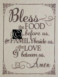 Primitive Bless The Food Before Us Country Farmhouse Home Decor Wood Sign Print