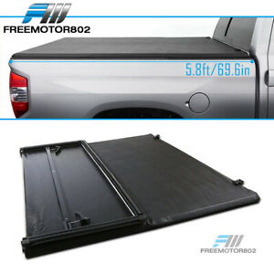 Fits 07 13 Chevy Silverado Sierra 5 8ft Bed Black Vinyl Tri fold Tonneau Cover