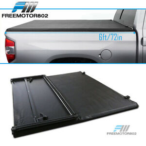 Fits 16 19 Toyota Tacoma 6ft Bed Black Vinyl Soft Lock Tri Fold Tonneau Cover