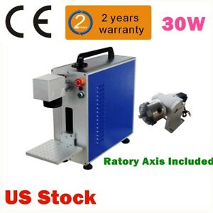 Upgrade 30w Fiber Laser Marking And Engraving Machine Ratory Axis Include Usa