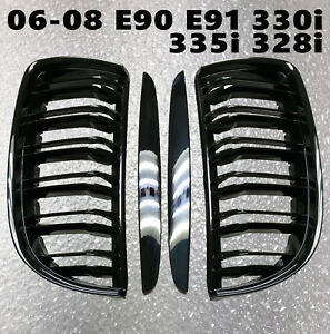 M4 Piano Gloss Black Front Nose Grilles Grille For 06 08 E90 E91 330i 335i 328i