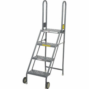 Tri Arc Kdmf104166 4 Step Folding Rolling Ladder Stand Perforated Tread Lot