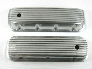 1965 95 Bbc Chevy 396 454 502 Tall Finned Alum Valve Covers Polished Bpe 2111