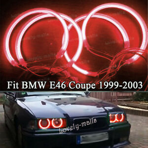 4pcs Ccfl Red Angel Eye Halo Light Ring Led Headlight For Bmw E46 3 Series Coupe