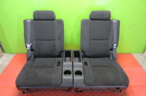 07 08 09 10 11 12 13 14 Tahoe Suburban Yukon Black Cloth 3rd Row Seat Set