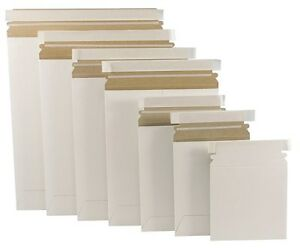 100 9 75 X 12 25 White Stay Flat Mailers Rigid Self Seal Mailing Envelopes