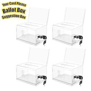 Clear Donation Box With Lock And Sign Holder Acrylic Ballot Box Tip Box Clear 4