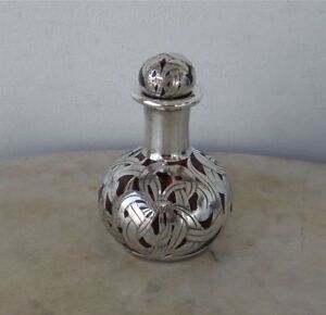 Sterling Perfume Bottle Cranberry Red Glass Silver Overlay Art Nouveau 3 1920s