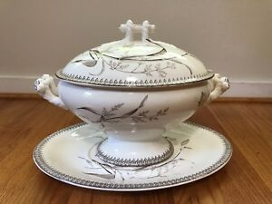 T R Boote Ironstone Summertime Pattern Oval Soup Tureen Cover Platter 1880