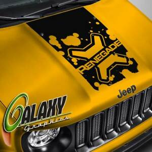 Hood Decal For Jeep Renegade Lettered Logo Splatter Blackout Hood Sticker