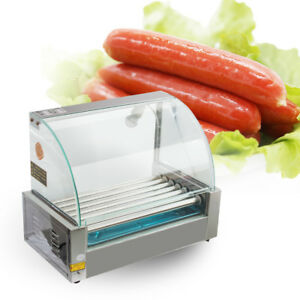 Us Stock Commercial 18 Hot Dog Hotdog 7 Roller Grill Cooker Machine W cover New