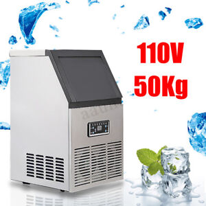110lbs 50kg Commercial Ice Cube Maker Machine Stainless Steel Bar 110v 230w