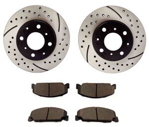 Fits 1990 1999 2000 Honda Civic Front Disc Brake Rotors And Ceramic Pads 10007