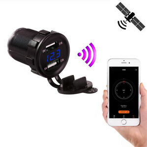 Car Motorcycle Usb Charger 4 2a Gps Tracker Location Led Voltmeter Phone App Map