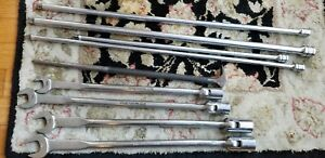 Large Snap On Tool Lot Sae Swivel Head Long Wrench Pry Bar Extension 1 2 3 8 Set