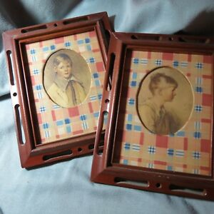 Vintage Wooden Framed Lithograph Prints Of Children Cut Out Folk Art Frames