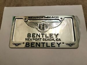 Newport Beach Bentley Car Dealership Chrome License Plate Frame And Dealer Metal