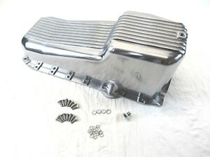 1986 02 Sbc Chevy 350 Aluminum Finned Oil Pan Pass Side 1pc Rm Polished Bpe 6003