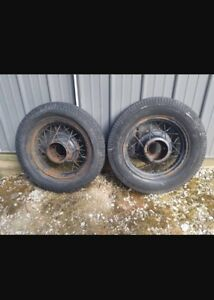 2 1930 S Ford V8 17 Wire Wheels And Tires 5x5 5 Bolt Pattern Firestone Davis