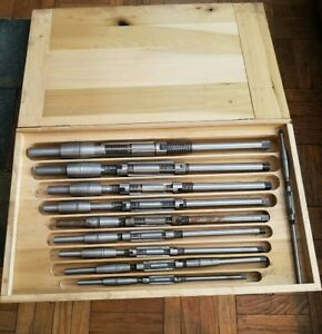 Vintage Keystone Reamers T Co 10 Piece Set With Wooden Case A K No C