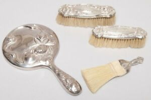 Antique Sterling Silverplate Dresser Grooming Brushes Mirror 4 Piece Set Lot