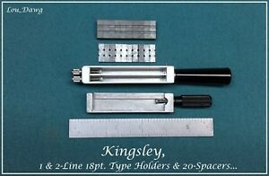 Kingsley Machine 3 18pt Type Holders Spacers Hot Foil Stamping Machine