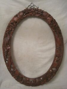 Large Ornate Carved Vintage Asian Oriental Wood Oval Picture Mirror Frame