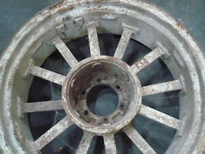 Two Large Antique Tractor Cast Iron Metal Wheels F H