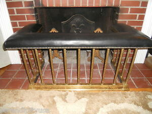 Antique English Brass Club Fender Fireplace Seat Bench 1890 Leather Seat