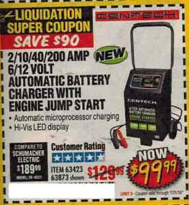 Harbor Freight 2 10 40 200 Amp 6 12 Volt Automatic Battery Charger