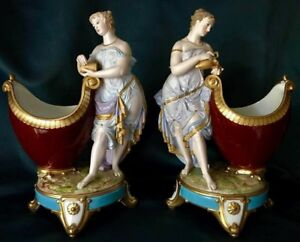 Antique French Limoges Gibus Redon Pair Of Porcelain Bisque Figural Bowls Museum