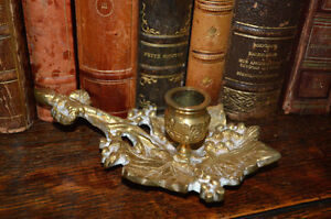 Antique Brass French Chamber Candlestick Candle Holder Grapevine Design