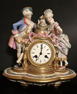 Antique French Jean Gille Figurine Porcelain Bisque Mantel Clock Museum Piece