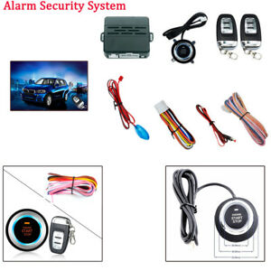 Auto Car Smart Alarm System Push Button Remote Engine Start led Sensor Light Kit