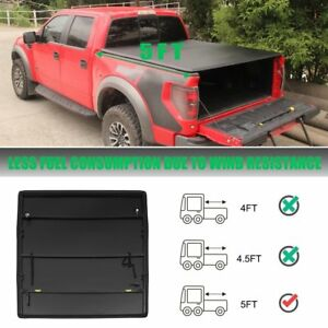 5ft Bed Black Soft Tri Fold Tonneau Cover Fits 05 18 Nissan Frontier Led