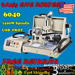 Usb 4 Axis Cnc Router 6040 1500w Spindle Engraving Milling 3d Drilljng Carving