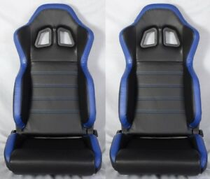 2 X R1 Style Black Blue Racing Seats Reclinable Slider Fit For Mitsubishi