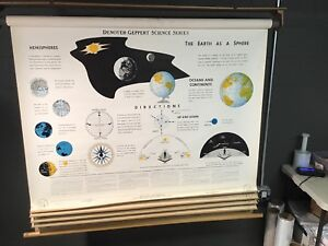 Denoyer Geppert 1963 School Classroom Map Earth Space Science 5 Panels Huge 5 Ft