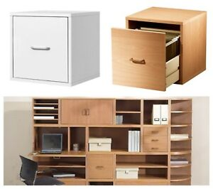 Home Office File Cabinet Cube Storage Wood White Honey