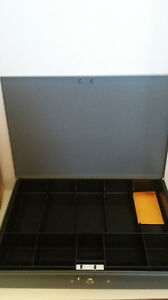 Mmf Steelmaster 2215cbtgy Gray Steel 10 Compartment Cash Box W Key Store Supply