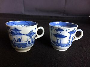Pair Of Asian White And Blue Porcelain Tea Cups