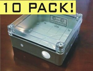 Lot Of 10 Weatherproof Electrical Enclosure Box Nema 4 Clear Lid 6 75 x6 75 x3