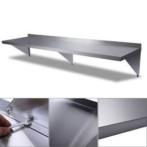 Stainless Steel Restaurant Bar Cafe Kitchen Floating Wall Mount Shelf 12 x72