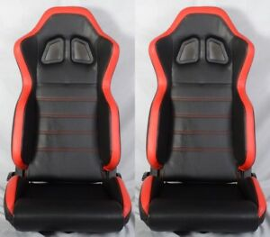 2 X R1 Style Black Red Racing Seats Reclinable Slider Fit For Vw Volkswagen
