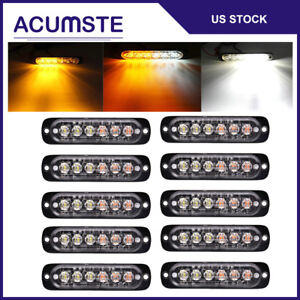 10pcs Amber white 6 Led Car Emergency Beacon Warning Hazard Flash Strobe Light