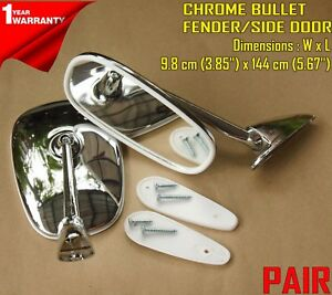 Peugeot 504 404 403 304 203 1955 1983 Chrome Fender Door Mirror Pair Edge Curve