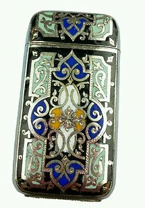 Antique French Silverplate Enamel Brass Match Safe Vesta Case