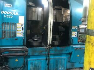 Doosan V550t Twin Spindle Vertical Turning Center W Fanuc Series 18i tb Control