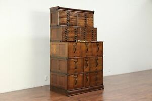 Stacking 33 Drawer Quarter Sawn Oak Antique File Cabinet Signed Globe 29940