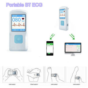 Portable Ecg Ekg Monitor Lcd Handheld Heart Rate Machine Bt Usb Pc Software